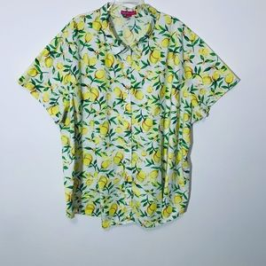 Woman Within Lemons Short Sleeve ButtonUp Shirt 4X